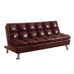 ACME Furniture Tayte Faux Leather Convertible Sofa in Burgundy