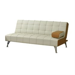 ACME Lytton Faux Leather Convertible Sofa in Beige and Brown
