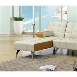 ACME Furniture Lytton Leather Chaise Lounge in Beige and Brown