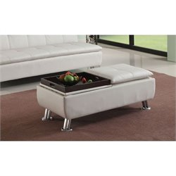 ACME Furniture Derrick Faux Leather Ottoman with Storage in White
