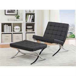 ACME Elian Faux Leather Accent Chair and Ottoman in Black