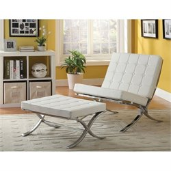 ACME Elian Faux Leather Accent Chair and Ottoman in Ivory