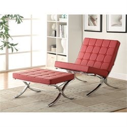 ACME Elian Faux Leather Accent Chair and Ottoman in Red