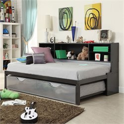Acme Renell Twin Bed with Bookcase and Trundle in Black and Silver