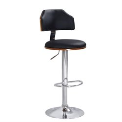ACME Ansel Swivel Adjustable Bar Stool in Black (Set of 2)