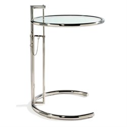 AEON Furniture Eva Adjustable End Table with Glass Top in Chrome