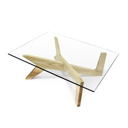 AEON Furniture X Coffee Table with Glass Top in Natural Ash