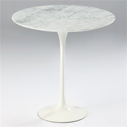 AEON Furniture Catalina Marble End Table in White Gloss
