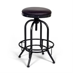 AEON Furniture Hilton Adjustable Leather Bar Stool in Black