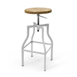 AEON Furniture Hugo Adjustable Swivel Bar Stool in White