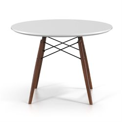 AEON Furniture Parisian Dining Table in White and Walnut