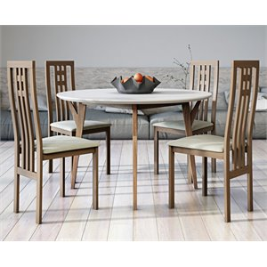 AEON Furniture Steve 5 Piece Dining Set in White and Walnut