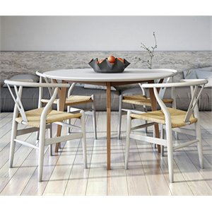 AEON Furniture Steve 5 Piece Dining Set in White and Ash