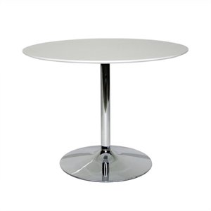 AEON Furniture Jonah Dining Table in Satin White and Chrome