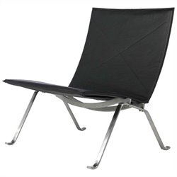AEON Furniture Fairfax Lounge Chair in Black and Stainless Steel
