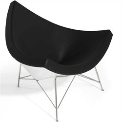 AEON Furniture Palm Lounge Chair in Gloss White and Black