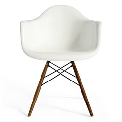 AEON Furniture Marcella Dining Arm Chair in Gloss White and Walnut