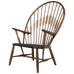 AEON Furniture Peacock Accent Chair in Walnut and Black