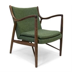 AEON Furniture Syracuse Lounge Dining Chair in Walnut and Green