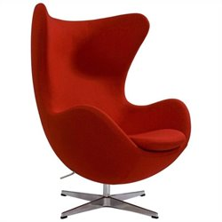 AEON Furniture Columbia Fiber Glass Egg Chair in Red