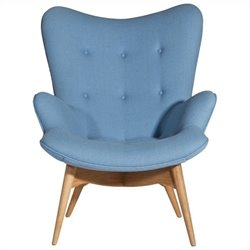 AEON Furniture Jules Fabric Tufted Lounge Chair in Blue