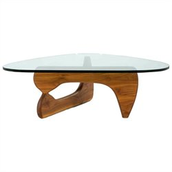 AEON Furniture Tokyo Coffee Table in Light Walnut and Clear