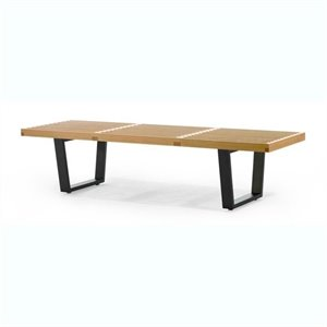 AEON Furniture Slat Bench in Maple and Black