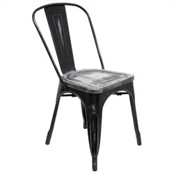 AEON Garvin Stacking Dining Chair in Antique Black (Set of 2)