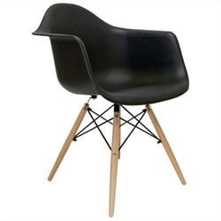 AEON Furniture Dijon - Wood Armchair in Matte Black (Set of 2)