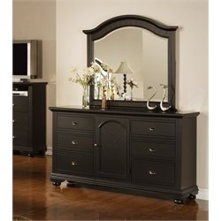 Picket House Furnishings Addison 6 Drawer Dresser with Mirror in Black