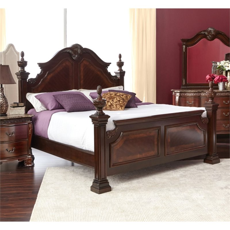 Picket house furnishings victoria queen poster bed in dark chestnut st600qb Home furniture victoria street