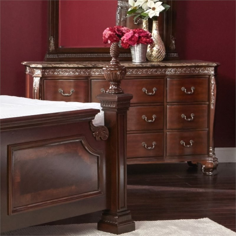 Picket house furnishings victoria marble top dresser in dark chestnut st650dr Home furniture victoria street