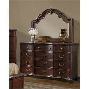 Picket House Furnishings Tomlyn Dresser with Mirror in Dark Cherry