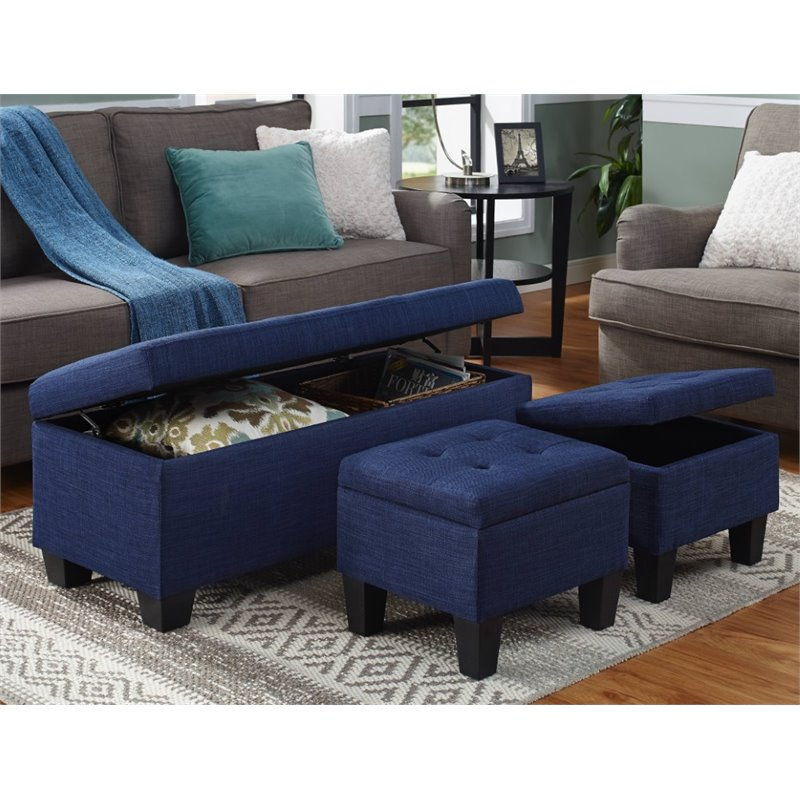 Picket House Furnishings Everett 3 Piece Storage Ottoman Set In Blue