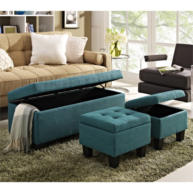 Genial Picket House Furnishings Everett 3 Piece Storage Ottoman Set In Teal