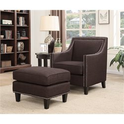 Picket House Furnishings Emery Chair WIth Ottoman in Chocolate