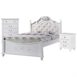 Picket House Furnishings Annie 4 Piece Platform Trundle Bedroom Set in White