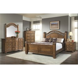 Elements Barrow 4 Piece Bedroom Set in Oak