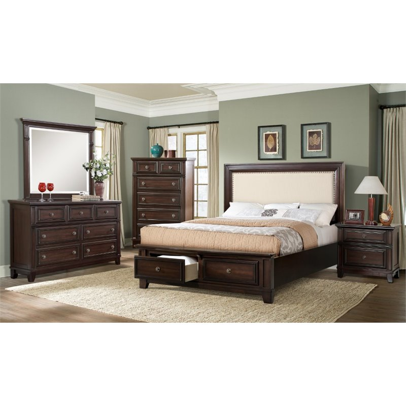 Picket House Furnishings Harland 6 Piece King Bedroom Set in Espresso