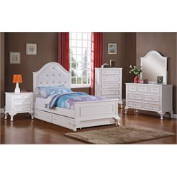 Elements Jenna 4 Piece Bedroom Set in White (Trundle)