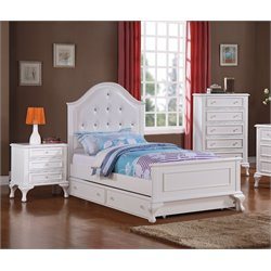 Elements Jenna 3 Piece Bedroom Set in White (Trundle)