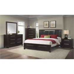 Elements Lydia 4 Piece Bedroom Set in Mahogany