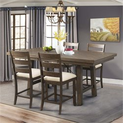 Picket House Furnishings Dex Counter Height Dining Set in Walnut and Cream (B)