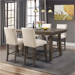 Picket House Furnishings Dex Counter Height Dining Set in Walnut and Cream (A)