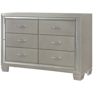 Picket House Furnishings Glamour Youth 6 Drawer Dresser in Champagne