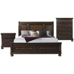 Picket House Furnishings Kingsley 3 Piece Storage Bedroom Set in Walnut