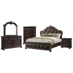 Picket House Furnishings Clarissa 5 Piece Panel Bedroom Set in Espresso