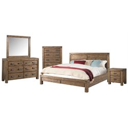 Picket House Furnishings Joel 5 Piece Panel Bedroom Set in Chestnut