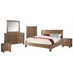 Picket House Furnishings Joel 6 Piece Panel Bedroom Set in Chestnut