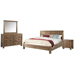 Picket House Furnishings Joel 4 Piece Panel Bedroom Set in Chestnut